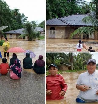 Ratusan Rumah Penduduk Dilanda Banjir Di Desa Pawan Rokan Hulu