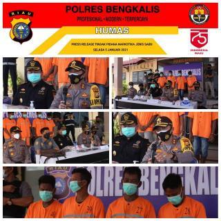 Polres Bengkalis Bersama BC Sikat Pelaku Penyeludupan Narkotika Jenis Sabu
