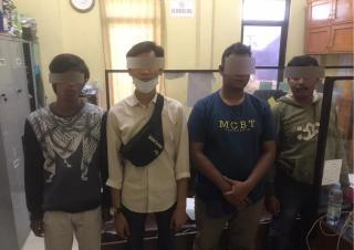 Opsnal Satreskrim Polresta Pekanbaru Amankan 4 Orang Pelaku Pungli Di Pasar Baru Panam.