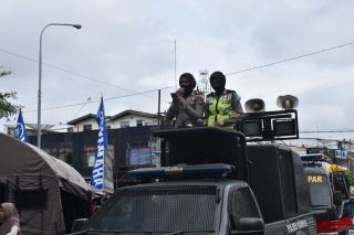 Polres Kampar Kerahkan Para Polwan Sosialisasikan Larangan Mudik Kepada Masyarakat